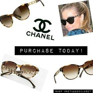 Chanel CC Logo Tortoise Gold Chain Leather Sunglas